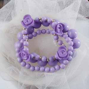 Rose & Bead Bracelet Set (3 Piece)